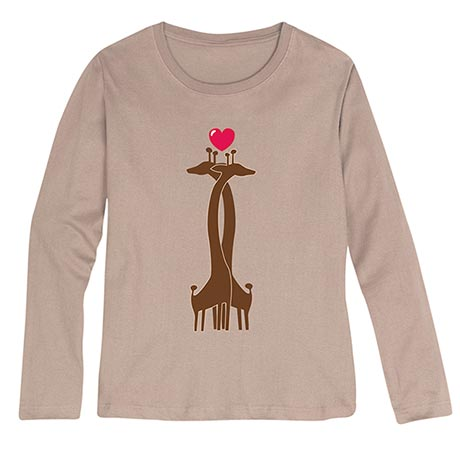 Heart Giraffes Ladies Short Sleeve Shirts