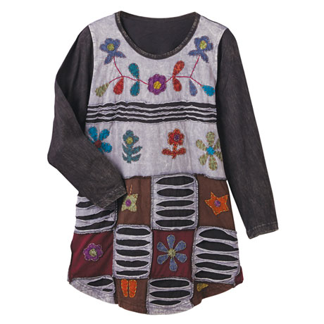 Floral Cutwork Tunic Top