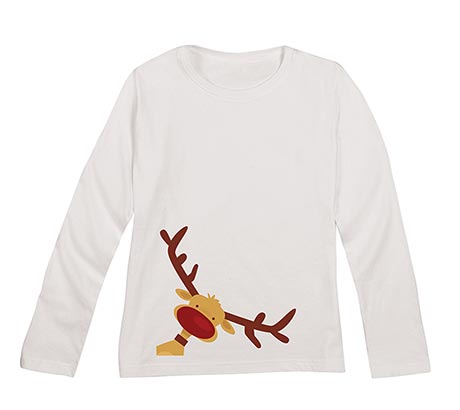 Christmas Reindeer White Long-Sleeved Ladies Tee
