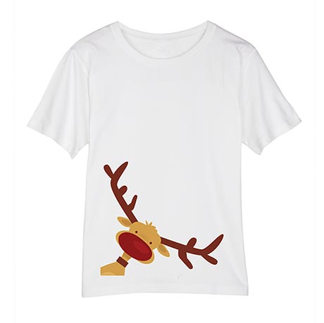 Christmas Reindeer White Short-Sleeved Ladies Tee