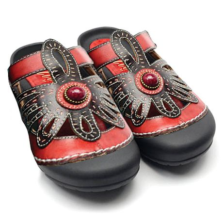 Colorful Slip-On Sandals for Women Handpainted Leather with Closed Toe - Stone Design