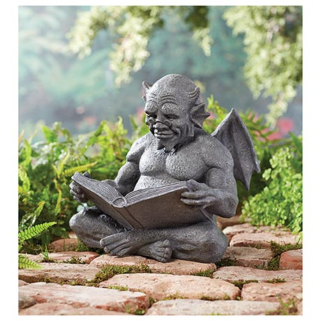 "Reading Gargoyle Garden Sculpture 12"" Tall"
