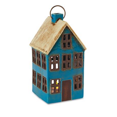 Ceramic House Lanterns - Blue