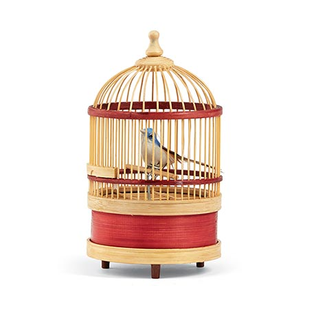 """Wind Up Singing Bird in 7"""" High Bamboo Cage"""