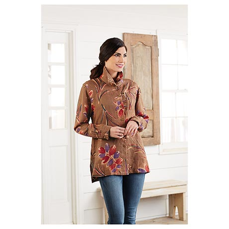 Hand-Batiked Leaves Button-Front Linen Tunic