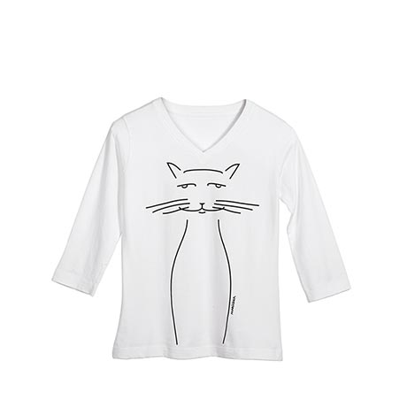 Marushka Cat Whiskers Tee with 3/4 Sleeves and V-Neck