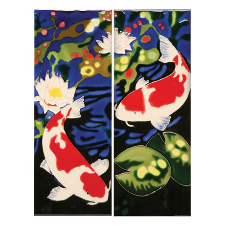 Handmade Koi Ceramic Tiles - Chinese Koi Fish