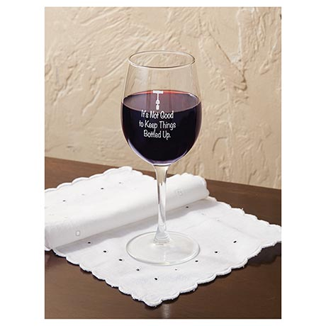It's Not Good to Keep Things Bottled Up Wine Glass Set of Two