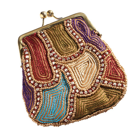 Embroidered Kiss Lock Coin Purse - Multi-colored