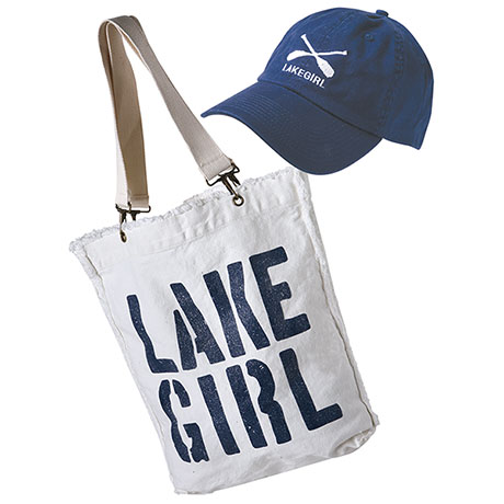 Women's Lake Girl Set: Canvas Navy Hat and Matching Canvas Tote