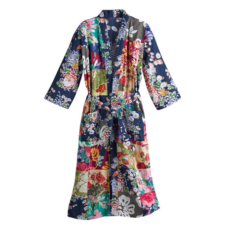 Colorful Patches Kimono Robe with Floral Design