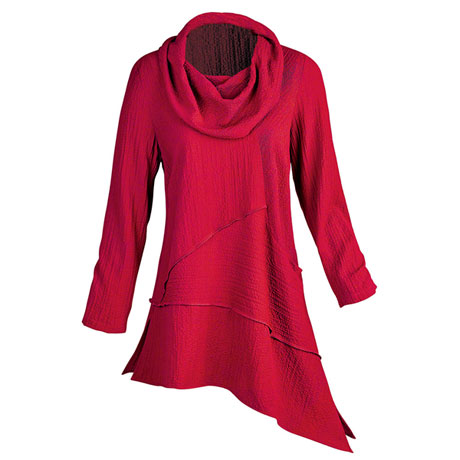 Crinkled Cowl-Neck Tunic