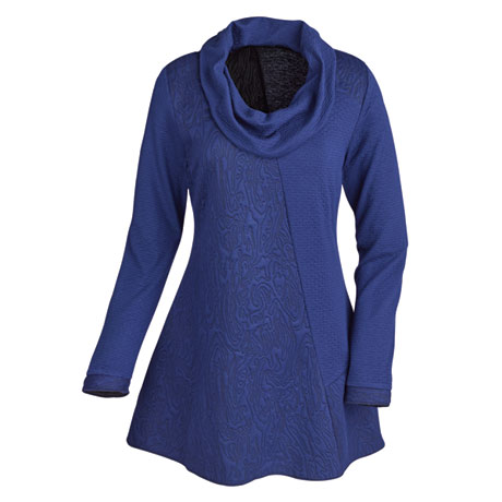 Textured Cowl-Neck Tunic