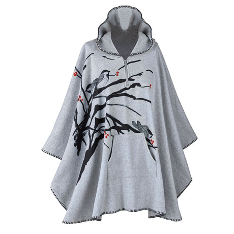 Chickadees Hooded Poncho