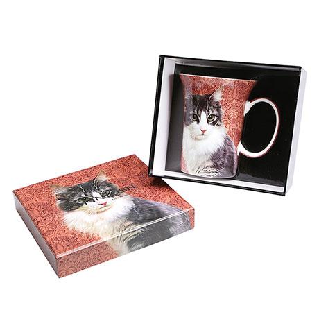 Feline Friends Black & White Cat Fine Bone China Mug