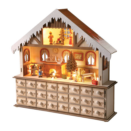 Lighted Santa's Workshop Wooden Advent Calendar
