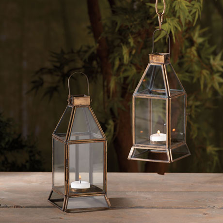 Brass and Glass Tea Light Lantern