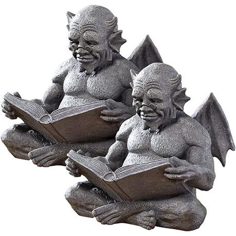 "Set of 2 Exclusive 12"" Cast Resin Reading Gargoyles"