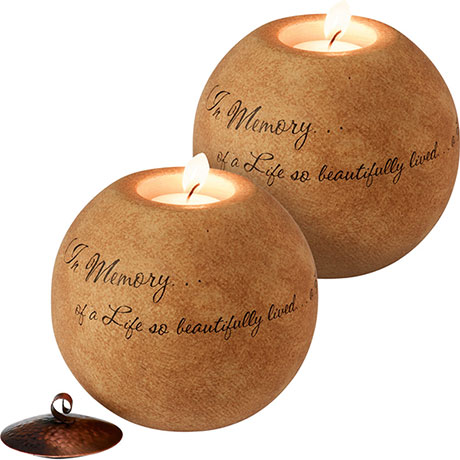 Set of 2 In Memory Memorial Tea Light Candle Holders