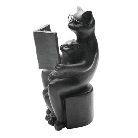 Cat and Kitten Reading Sculpture
