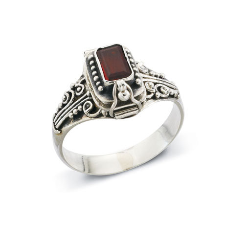 Sterling Silver and Garnet Poison Ring