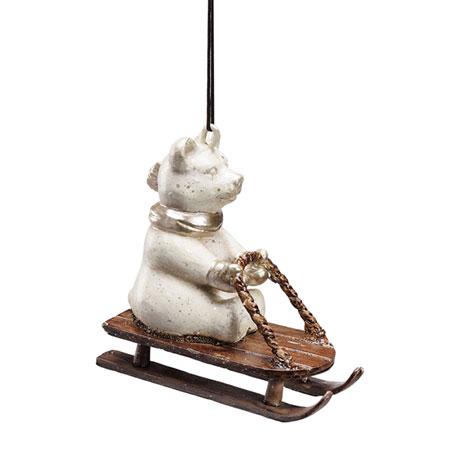 Sledding Polar Bear Ornament