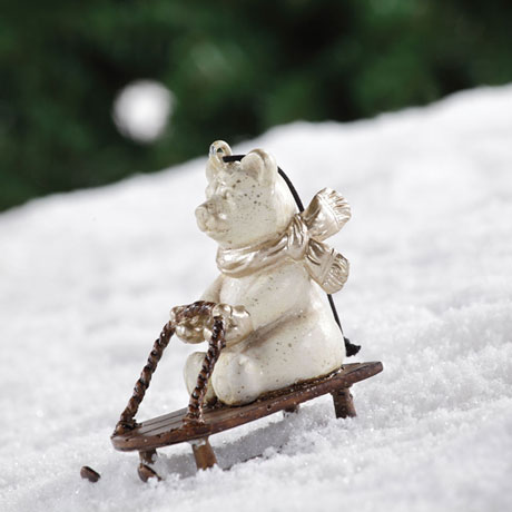 Sledding Polar Bear Ornament