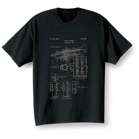 Vintage Patent Drawing Shirts - Trumpet