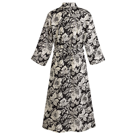 Patched Black-and-White Floral Kimono Robe