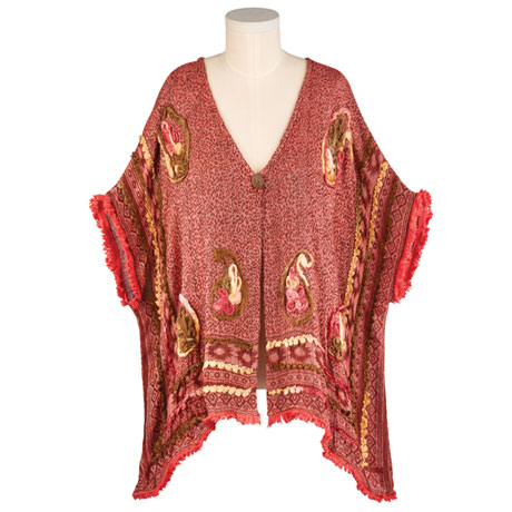 Embroidered Poncho-Style Jacket