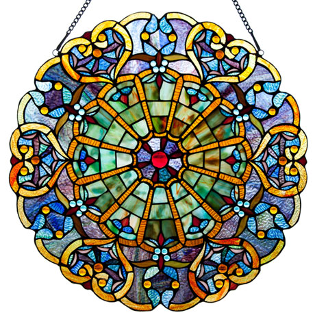 Stained Glass Hearts Window Panel