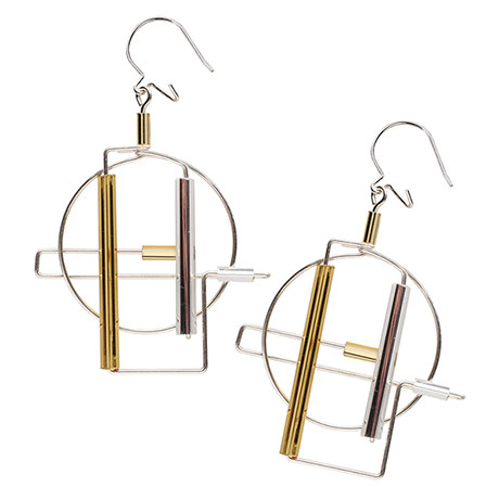 Barbie Levy Architectural Wire & Glass Tube Earrings (circle)