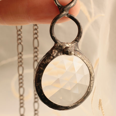Faceted Glass Prism Kaleidoscope Pendant