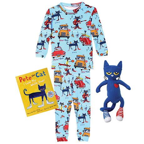 Pete the Cat Gift Set 100% Cotton Blue Pajamas Book and Blue Poly Plush