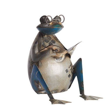 Reading Frog in Recycled Metal