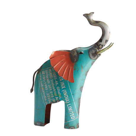 Lucky Elephant in Recycled Metal