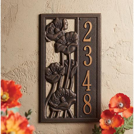 Poppies Custom Address Plaque