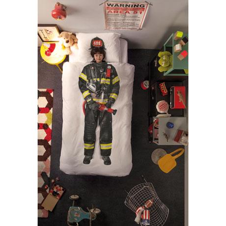 Firefighter Dress-Up Duvet Cover and Pillowcase Set