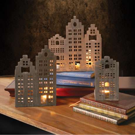 Street Scene Votive Holders Set