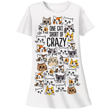 One Cat Short of Crazy Nightshirt