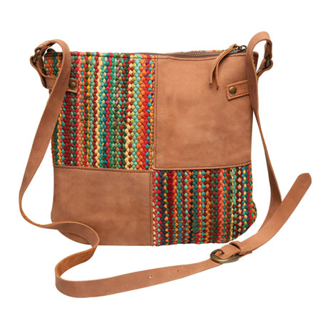 Chindi and Leather Crossbody Bag