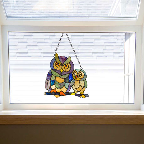 Owls Stained Glass Window Panel