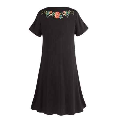 Embroidered Flowers T-Shirt Dress