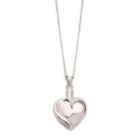 Sterling Silver Heart Memorial Urn Pendant