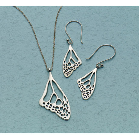 Sterling Silver Butterfly Wing Earrings