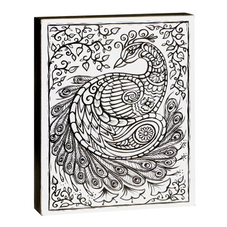 Color-Your-Own Wall Art - Peacock Design