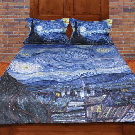 Van Gogh Starry Night Painting Duvet Cover and Set of 2 Shams Bedding Set (Full/Queen)