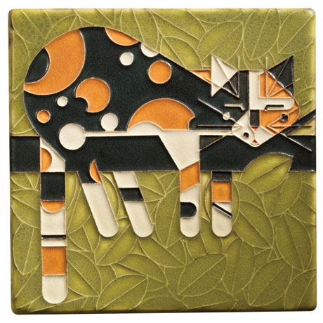 Charley Harper Calico Cat Art Tile