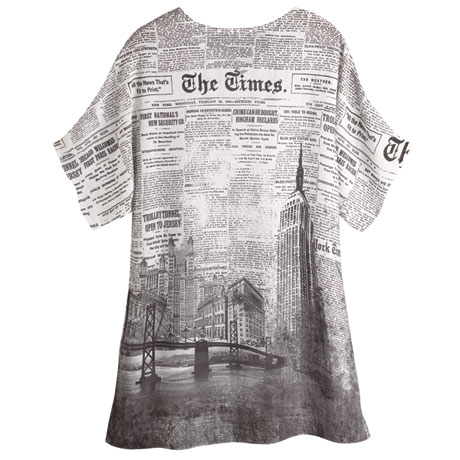 Cityscape Newsprint High-Low Tunic