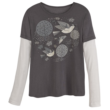 Mid-Century Modern Birds Organic Cotton T-shirts - Grays
